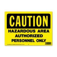 CAUTION HAZARD AREA (警告、危険区域。権限なき者の立ち入り禁止)