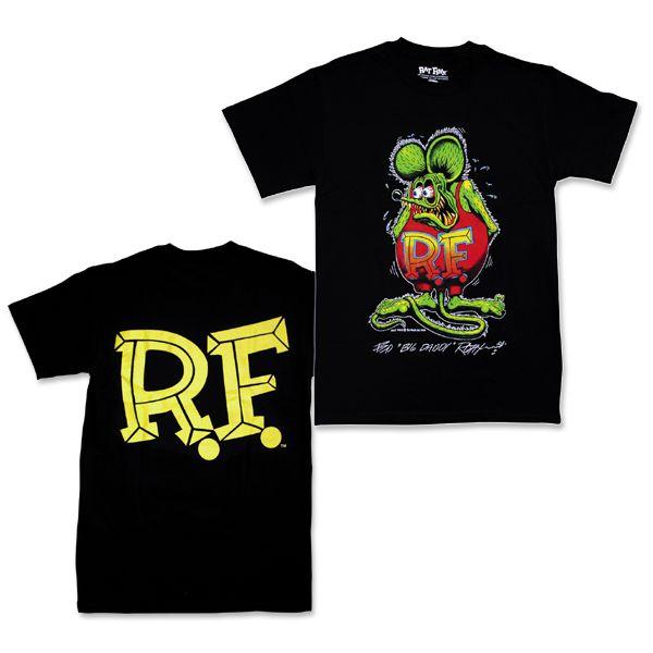 モンスター (ラット フィンク) (ラット フィンク) ブラック Tシャツ Rat Fink Standing Rat Fink
