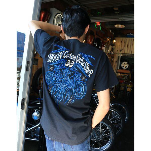 MOON CUSTOM CYCLE SHOP Pinstripe T-Shirt