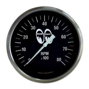 画像1: MOON Equipped 4 5/8インチ 8000RPM タコ メーター<ブラック>