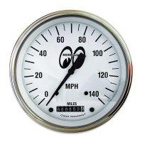 MOON Equipped 3 3/8インチ 140MPH スピード メーター<ホワイト>