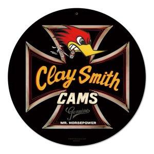 画像1: クレイスミス Genuine ブラック ラウンド メタル サイン