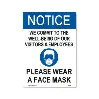 Notice Please Wear A Face Mask ステッカー (フェイスマスク着用のお願い)