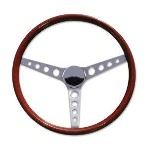 """画像1: 15"""" Wood Steering Wheel Round Hole"""