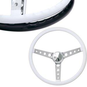 """画像1: MOONEYES ORIGINAL """"Finger Grip"""" Steering Wheel 38cm(15"""") White"""