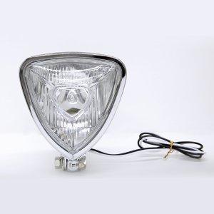 画像5: Chrome Triangle モーターサイクル ヘッドライト (Flat Back)