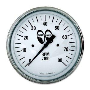 画像: MOON Equipped 3 3/8インチ 6000RPM タコ メーター<ホワイト>
