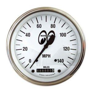 画像: MOON Equipped 4 5/8インチ 140MPH スピード メーター<ホワイト>