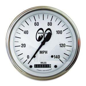 画像: MOON Equipped 3 3/8インチ 140MPH スピード メーター<ホワイト>