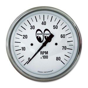 画像: MOON Equipped 4 5/8インチ 8000RPM タコ メーター<ホワイト>