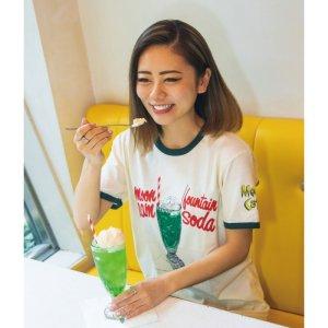 画像: MOON Cafe クリームソーダ トリム Tシャツ