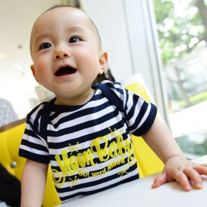画像: MOON Stripe Baby ロンパース